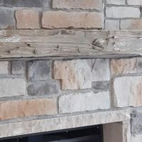 Stone Fireplace Barn Board Mantel