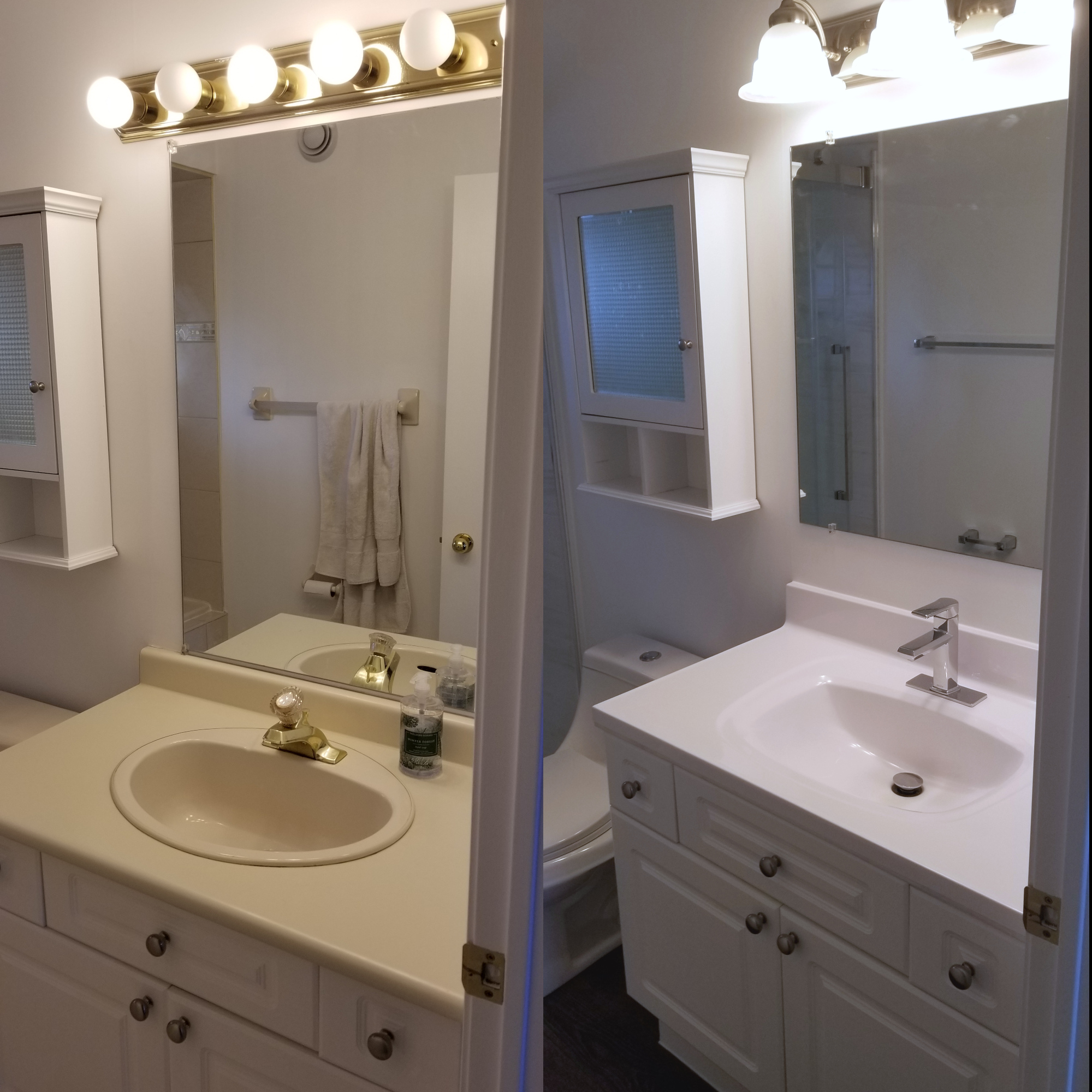 Before and after bathroom vanity renovation