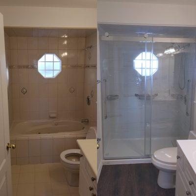 Before & After Walk in Tile Shower